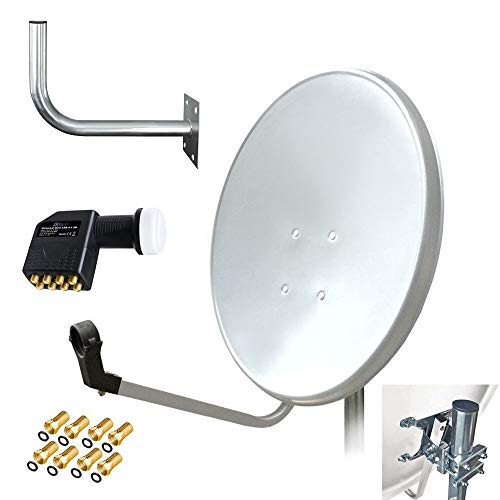 ARLI 60cm HD Sat Anlage Octo LNB + Wandhalter 45 cm Wandhalterung + 8 F-Stecker vergoldet Dichtring 8 Teilnehmer Weiss UHD 4K lichtgrau Satellitenschüssel Satelliten Antenne 60 cm