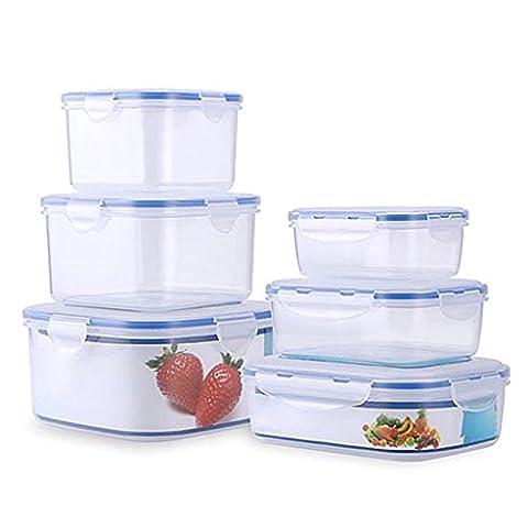 Conteneur de stockage de nourriture, boîtes de nourriture, ensemble de 6, bleu
