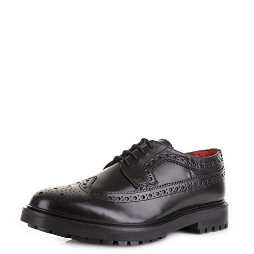Base London Chaussure Hommes Men Shoe Cuir Perforé Fond carrarmato Black