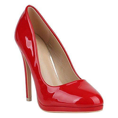 Damen Schuhe Lack High Heels Plateau Pumps Party Abend Schuhe 156967 Rot Lack 38 Flandell