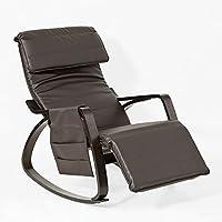 SoBuy® Schaukelstuhl mit Tasche (verstellbares Fussteil),Relaxstuhl,Relaxsessel, schwarzes Gestell, aus PU, FST20-BR