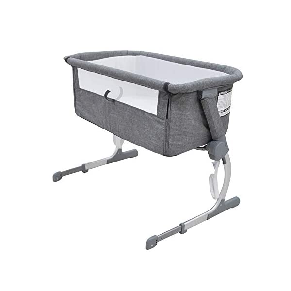 Bedside Crib Grey 5 Gear Mode 87 X 48 X 59cm Alloy Steel for 0-12 Months Baby WZX Unzip the side panel and connect fastening straps to transform from a crib to a bedside crib allowing you to keep close to your baby at night! Height adjustable fame to sit comfortably along any bedframe and a lightweight design makes it perfect for use in almost any room in your home. The ease of attachment and assembly, plus the removable and washable lining make life easy, making the bedside crib the perfect addition to any nursery. 3