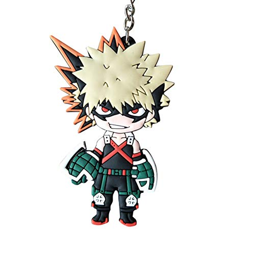 Templom SIX My Hero Academia (Boku no Hero Academia) Figur Anhänger Puppe Metall Schlüsselanhänger Japanischer Anime Schlüsselanhänger(Katsuki Bakugou)