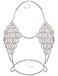 SLB Works Women's Sexy Body Chain Cover Up Bra Body Jewelry Bikini Bra Gold Q7E2