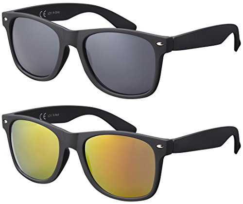 Original La Optica UV400 Verspiegelt Unisex Retro Sonnenbrillen - Doppelpack Gummiert/Rubber Schwarz (Gläser: 1 x Grau, 1 x Rot verspiegelt) LO1 R-Grey/R-Red