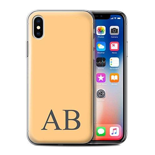 Personalisiert Pastell Monogramm Gel/TPU Hülle für Apple iPhone X/10 / Gelbes Design / Initiale/Name/Text Schutzhülle/Case/Etui Orange