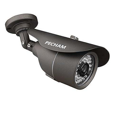 PECHAM Outdoor Überwachungskamera CCTV Überwachung 1200TVL 3,6 mm Weitwinkel 36 Infrarot-LED Color Vision schwarz wasserdichte (Tvl Telecamera Bullet)