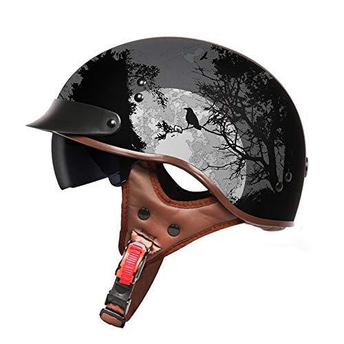 YAJAN-helmet Jet Helm Halbschalen mit Sonnenblende Retro Scooter Helm Motorrad Helm Chopper Roller Fahrradhelm Damen und Herren Gedruckte Nachtszene 57-61cm