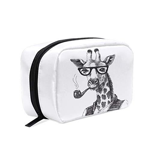Handgezeichnete schwarze Giraffe mit Sonnenbrille, Pfeife, Make-up-Tasche, Kosmetiktasche, Kulturtasche, Reisetasche für Frauen, tragbare Organizer, Aufbewahrungstasche