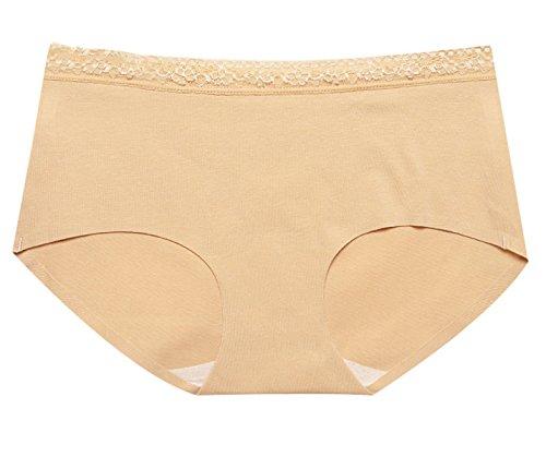 POKWAI Frauen-Ultra-bequeme Baumwoll No Trace-Dreieck-Unterwäsche-Spitze-Taille A1