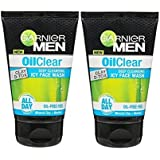 Garnier Men's Oil Clear Deep Cleansing Icy Face Wash, 100g - Pack of 2