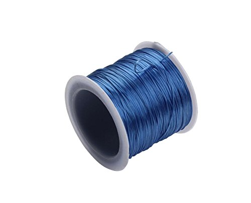 1 Rouleau 40 m (43 Yard) 1mm Plat Élastique Cristal Stretch Corde Polyester Cordon pour Bijoux Fabrication Bracelet Perles Fil DIY Artisanat Accessoires (Bleu)