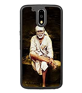 Fuson Designer Phone Back Case Cover Motorola Moto G4 :: Moto G (4th Gen) ( Sai Baba Sitting On Stone )