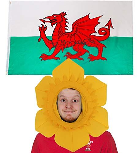 ILOVEFANCYDRESS Wales Dekoration KOSTÜM VERKLEIDUNG =MIT+OHNE ZUBEHÖR=Fussball Sport LÄNDER ABMESSUNGEN VON 152cmX91cm=Flagge + NARZISSEN Hut