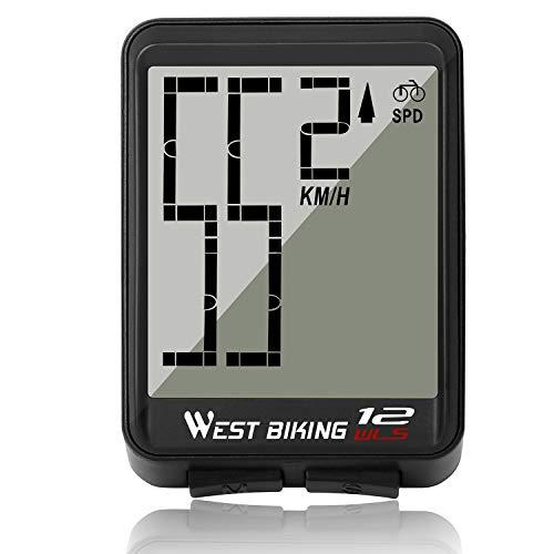 LuTuo Fahrrad Tacho, Fahrradcomputer Kabellos Wasserdicht, Einfach Ablesender Groß Digital Anzeigender Tachometer