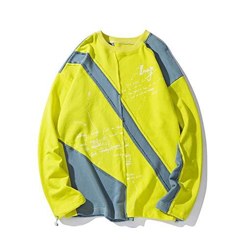 CLGXXH Kapuzenpullover Sweatshirt Unregelmäßige Farbe Patchwork Block Jersey Sweatshirts Hip Hop Hipster Punk Rock Streetwear Hoodies Mode lässig Tops -
