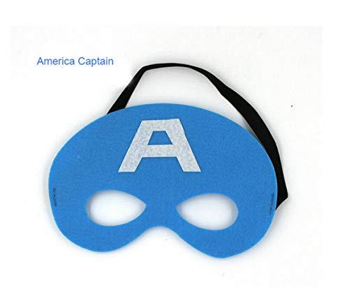 Greetuny Superheld Masken Super Masken Weihnachten Halloween Maske Superheld Cosplay Augenmasken Filzmasken-ideal für Kinder ab 3 Jahren (Captain ()