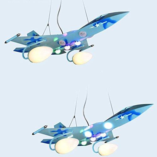 Guo Kinderzimmer Schlafzimmer Lichter Kämpfer Kreative Kronleuchter Junge Aircraft Lichter Eisen E27 Lampe Port ( farbe : Blau )