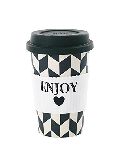 Miss Etoile Gobelet Mélamine tm026 Mug to Go Gobelet de voyage Bambou Noir Blanc Enjoy