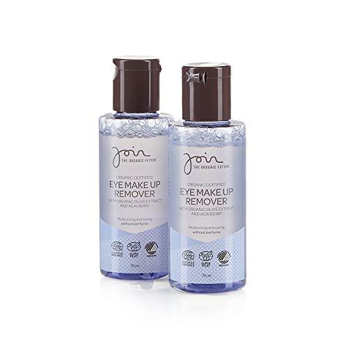 Join - Biozertifizierter Augen-Make-up-Entferner mit Olivenextrakt und Acaibeeren - Packung mit 2 Flaschen à 75 ml.