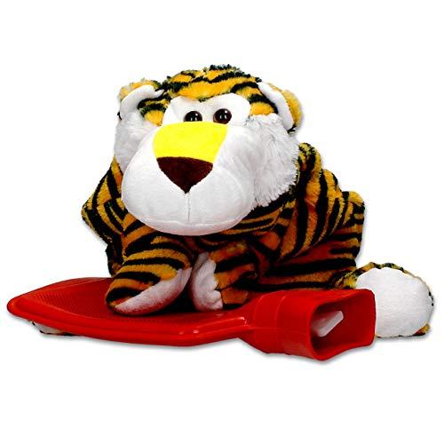 Bolsa de agua caliente Tiger Funda Peluche-0,7l Caucho Natural Cama Botella Ideal para niños-Revestimiento lavable y extra suave