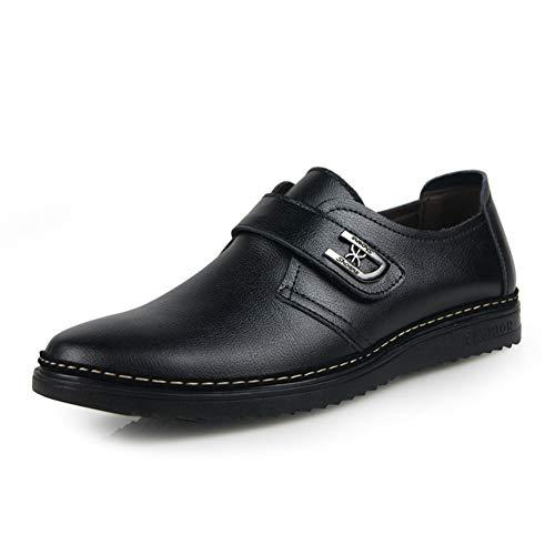 LXYIUN Freizeitschuhe für Herren,Einzelne Schuhe Formell tragen Lackleder britischer Stil Gezeiten Schuhe,Black,45 -