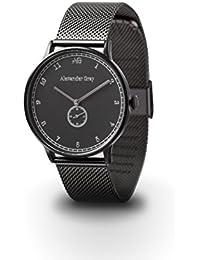 ALEXANDER GRAY: orologio da polso unisex EDIMBURGO - nero opaco, con un delicato cinturino in rete e cassa sottile - nobile, leggero, semplice - stile unico combinato con semplice eleganza