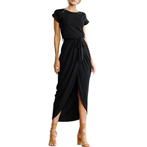 oho Langes Maxikleid Abend Partei Strand Kleidet Sundress Kostüm mit Einem Körper, der Gurt formt(Schwarz,EU-36/CN-XS) (Günstige Damen Piraten Kostüme)