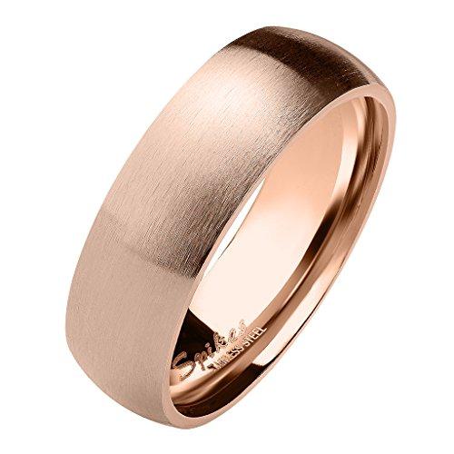 Mianova Herren & Damen Ring Partnerring Edelstahl Mattiert Fingerring Verlobungsring Bandring Ringe Verlobung Schmuck Matt Rosegold Größe 55 (17.5) Breit 6mm