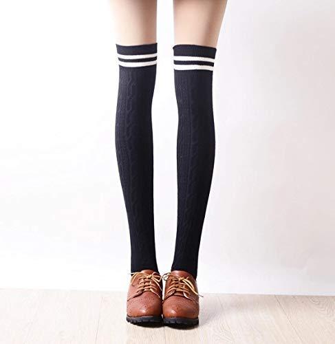 Mwaaz scaldamuscoli invernali lunghi per le donne - calze autunno verticali a righe verticali calze in cotone sottili sopra le calze al ginocchio collegio vento calze a pile giapponesi (colore: nero)