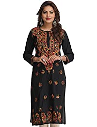 ADA Hand Embroidered Lucknow Chikan Regular Wear Cotton Kurti Kurta ( A188048 _Black)