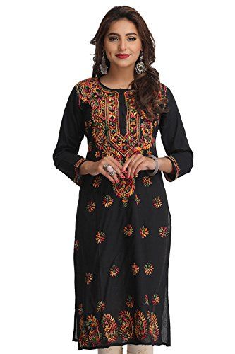 Ada Women'S Cotton Black Kurta (Xs188048_X-Small)