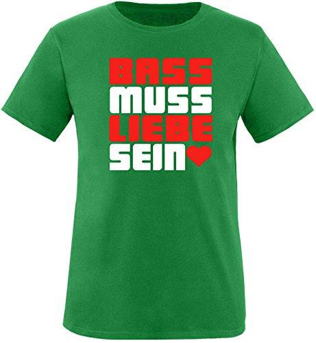 Luckja Bass muss Liebe Sein Herren Rundhals T-Shirt Gruen/Weiss/Rot