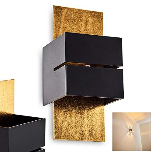 Wandlampe Tora aus Metall in Schwarz/Gold mit Schlitz, moderne Wandleuchte mit Lichteffekt