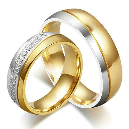 SonMo Paar Ringe Breit Bandring mit Freimaurer Muster Gebürstet Hochzeit Ring für Paar Verlobungsring Edelstahl für Herren 6Mm Gold Größe 70 (22.3)