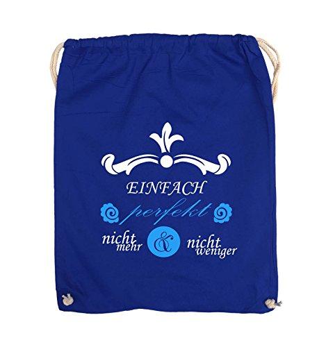 Comedy Bags - Einfach perfekt nicht mehr und nicht weniger - Turnbeutel - 37x46cm - Farbe: Schwarz / Weiss-Neongrün Royalblau / Weiss-Hellblau