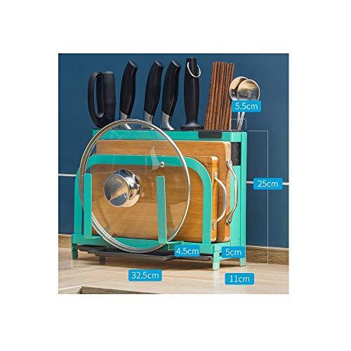 QHY Haushalt Küchenregal, Messerhalter Schneidebrett Regale Topfregal, Lagerregal Küche,Green - Hygienische Regale