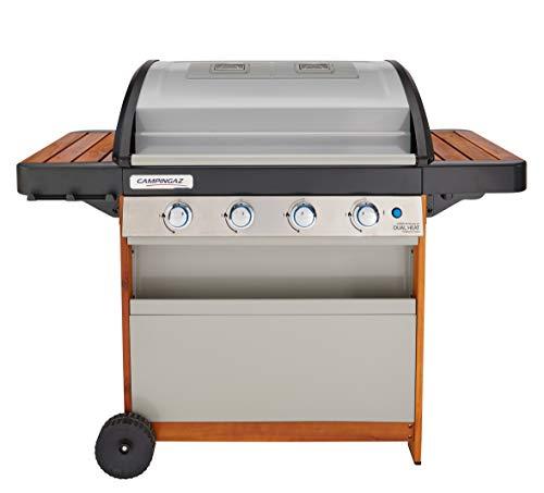 Campingaz Gasgrill 4 Series Dual Heat Woody LX, BBQ mit 2 Grillzonen, 4 Edelstahlbrennern, InstaClean Reinigungssystem und Culinary Modular System
