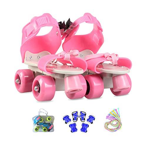 ZCRFY Inline-Skates Zweireihige Rollschuhe Einstellbar 4 Rad Kinder Anfänger Atmungsaktive Für Jungen Mädchen Indoor Und Outdoor Mit Schutzausrüstung Rollers Geburtstag Presen,Pink2-(25-36) Code