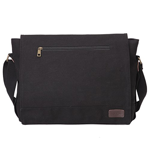 Eshow Borsa da uomo di tela con risvolto a tracolla da spalla multiuso per uso quotidiano Colore Nero
