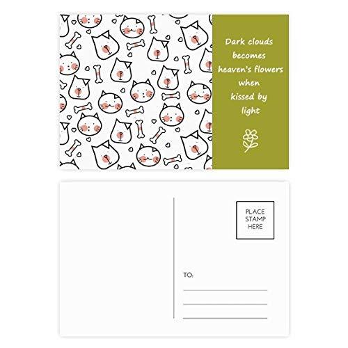 Postkarten-Set für Katzen, Knochenschutz, Poesie, 20 Stück