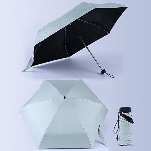 Morehappy7 Paraguas ultraligero de tamaño mini de bolsillo, 5 paraguas plegable resistente al viento y a los rayos UV, paraguas de viaje plegable para hombres y mujeres, varios colores a elegir, verde claro