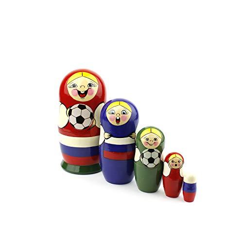 Galleria fotografica Matryoshka Russian Nesting Dolls Coppa del mondo di calcio 2018 Babushka classica Realizzata a mano in Russia 5 pezzi 16 cm di regalo in legno