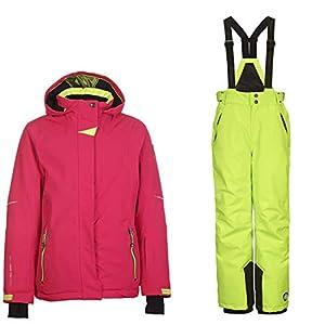 Killtec Kinderskianzug Mädchen Skianzug zweiteilig Wasserdicht und Winddicht Pink-Lime [Skijacke+Skihose im Set]