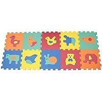 """Mamatoy - Puzzle infantil """"La alegre granja"""" Mamababy - Alfombra de goma EVA suave para niños, por piezas y con números desmontables. Juguete apto para bebés a partir de 10 meses - Dimensiones de cada pieza: 32 cm x 32 cm x 1 cm de alto - Total 10 Piezas."""
