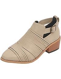 Zapatos del alto talón mujer,Sonnena ❤️ Zapatos de mujer Ponted Toe Botines de color puro Hebilla Correa Tacón Cuadrado Zapatos individuales