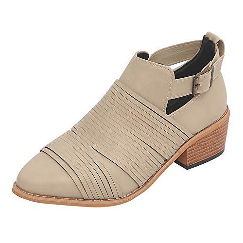 (Sannysis Stiefeletten Damen Elegant Spitzschuh Schuhe Reine Farbe Booties Schnalle Square Heel Single Schuhe Braun Beige Kaffee)
