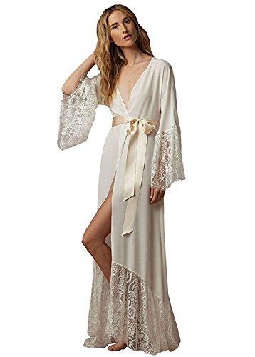 Dressvip Femme Chemise de Nuit pour Mariage en Satin Manches Longues Robe Peignoir (L, ivoire foncé)