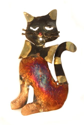 cat-with-bow-tie-multi-coloured-recycled-metal-wall-hanging-13cm-high-fair-trade-and-hand-made-from-