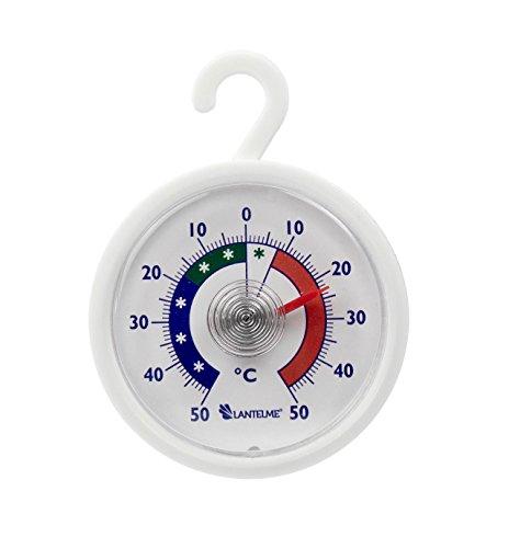 Lantelme 6574 Rundes Kühl - Gefrierschrankthermometer mit Haken - Kühlschrankthermometer Analog